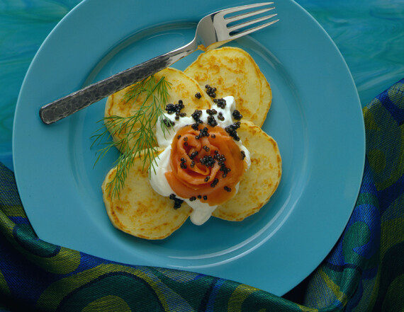 Potato Pancakes Vonnas with Smoked Salmon and (Osetra) Caviar