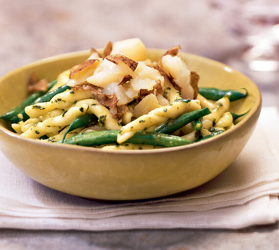Poached Idaho® Potatoes with Trofie Pasta, Green Beans and Pesto