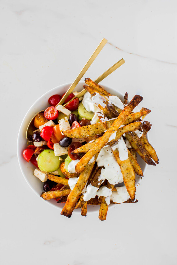 Crispy Greek-style Idaho® Potato Fries with Greek Salad and Tzatziki Sauce