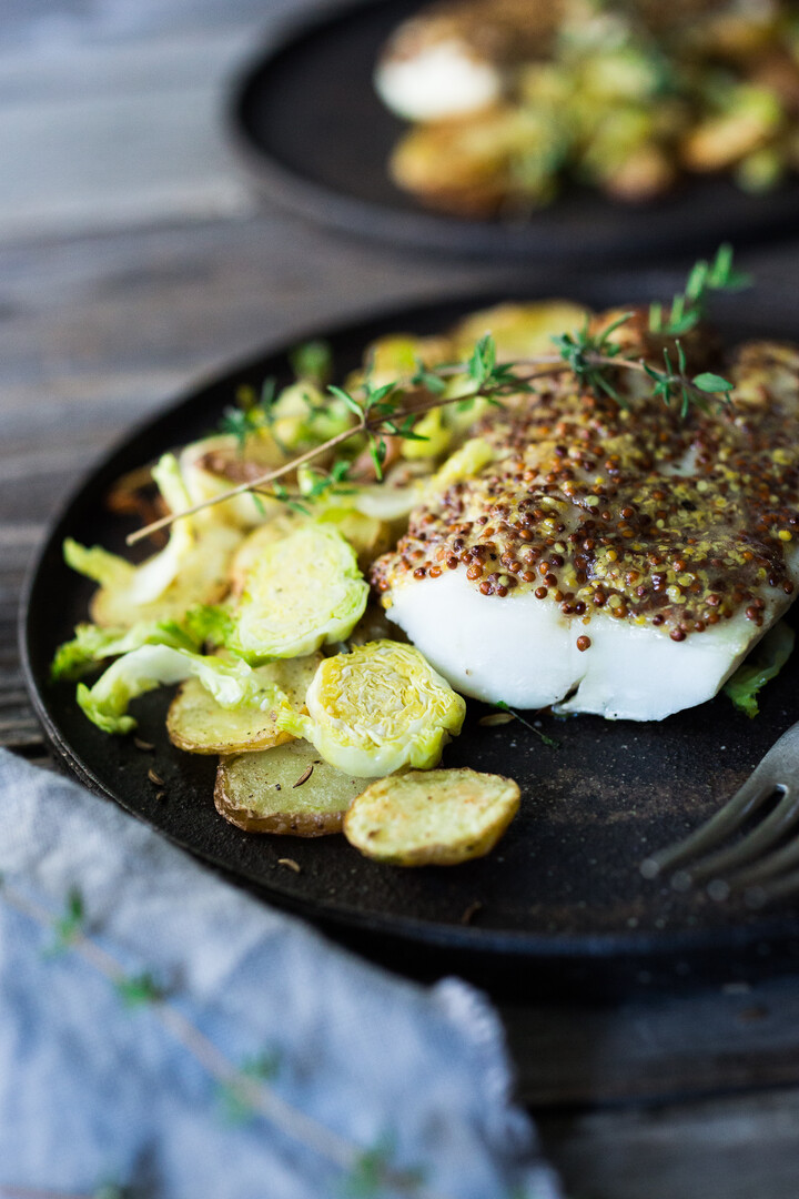 Mustard Roasted White Fish with Idaho Potato-Brussels Sprout Hash