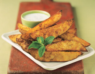 Curry Roasted Idaho® Potato Wedges with Raita