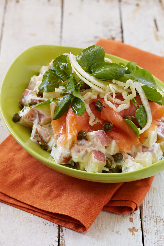 Crème Fraiche Idaho® Potato Salad with Smoked Salmon, Fennel, Capers and Watercress