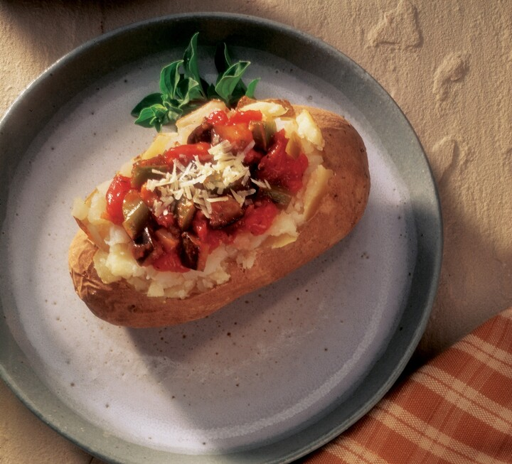 Baked Potatoes with Eggplant Parmesan Topping