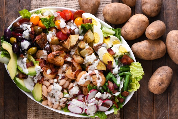 Mega Chopped Salad with Shrimp and Roasted Potatoes