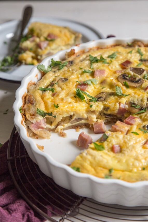 Ham and Cheese Quiche with Hashbrown Crust