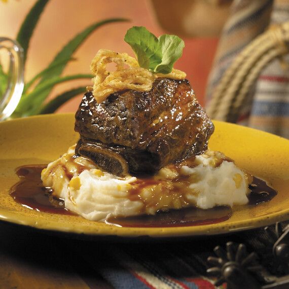 Dublin Dr. Pepper Braised Short Ribs with Queso Fresco Corn Whipped Potatoes and Caramelized Tobacco Onions