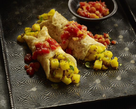 Mung Bean Crepes Stuffed with Spicy Idaho® Potatoes and Served with Heirloom Tomato Relish