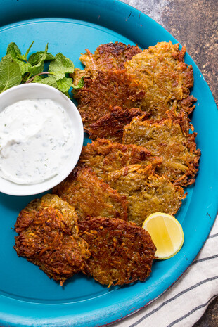 Tikka Masala Latkes with Mint Yogurt Sauce