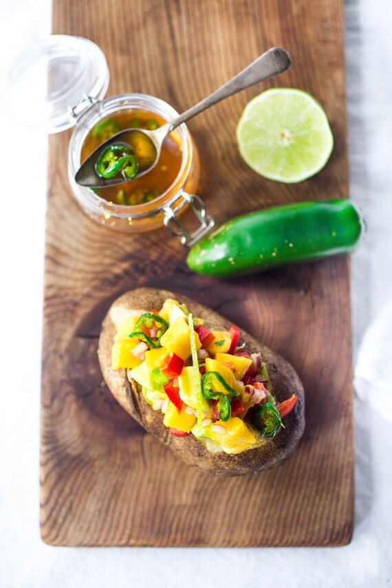 Baked Potato with Mango Avocado Relish and Jalapeño Honey