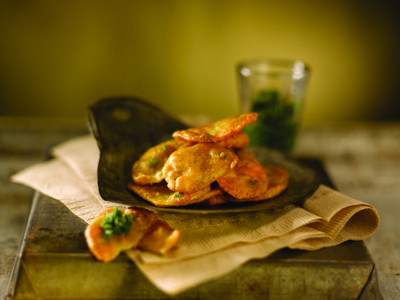 Spicy Idaho® Potato Fritters with Green Chutney
