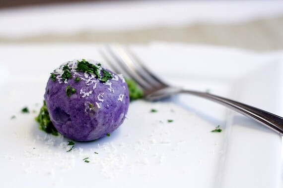 Idaho® Purple Potato Dumplings Stuffed with Gruyere and Parsley Walnut Pesto
