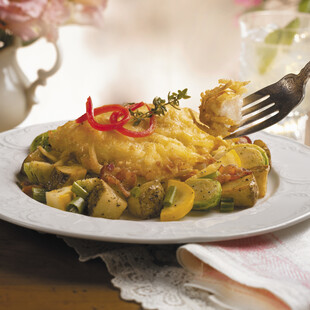 Idaho® Potato Crusted Red Snapper with Potato and Brussels Sprout Hash