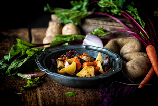 Roasted Carrots, Beets, Red Onion Wedges and Idaho® Potatoes