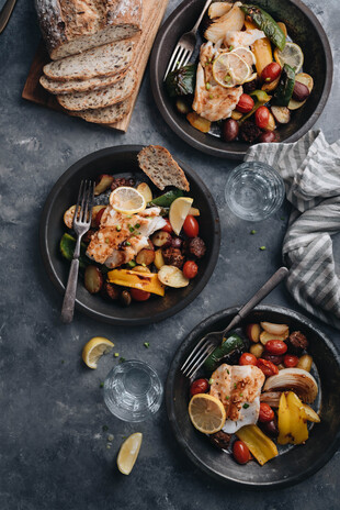 Baked Cod with Idaho® Potatoes and Peppers