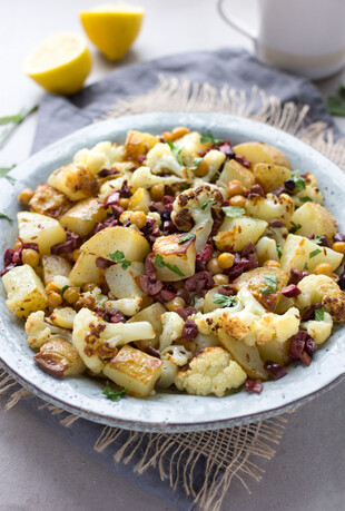 Roasted Idaho® Potatoes, Cauliflower and Chickpeas with Kalamata Olive Vinaigrette