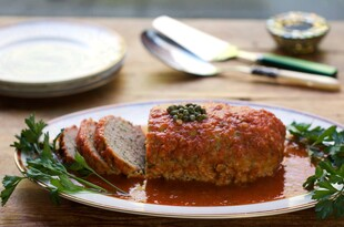 Sicilian Turkey Meat Loaf with Idaho® Potatoes Capers and Wine