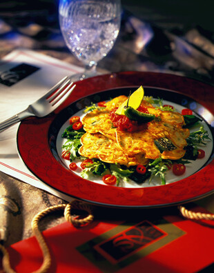 Idaho® Potato Pancakes with Roasted Corn and Poblano Peppers