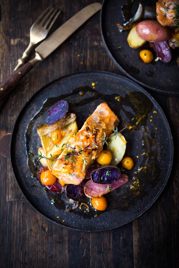 Roasted Salmon with Idaho® Fingerlings and Kumquats