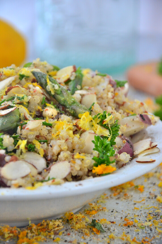 Asparagus and Potato Quinoa Salad with Orange Parsley Dressing
