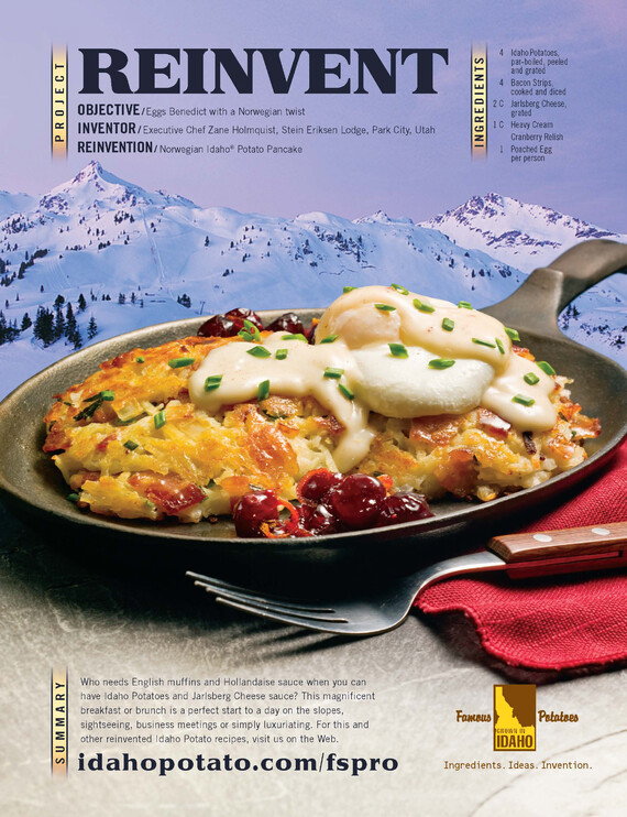 Norwegian Idaho® Potato Pancake with Poached Eggs, Jarlsberg Cheese Sauce and Cranberry Relish