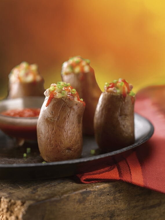 Andouille & Ramp Stuffed Idaho® Fingerling Potatoes with Sweet/Hot Red Pepper Sauce