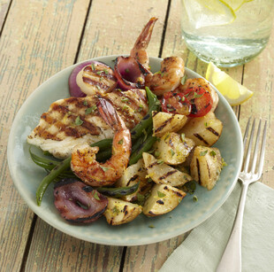 Mediterranean Grilled Idaho® Potato Salad with Seafood