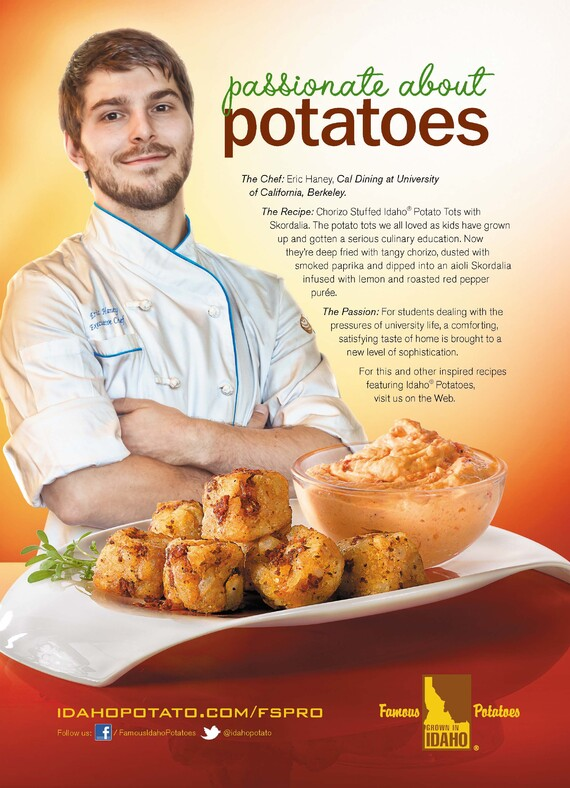 Chorizo Stuffed Idaho® Potato Tots with Skordalia