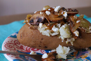 Baked Idaho® Potato with Caramelized Onions, Mushrooms and Feta Cheese