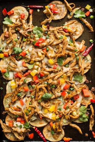 Potato Nachos with General Tso's Chicken
