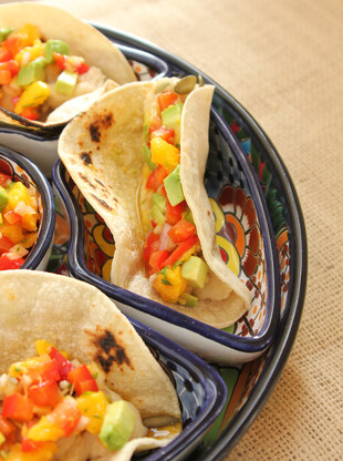 Slow Cooker Potato Tacos with Avocado Mango Salsa
