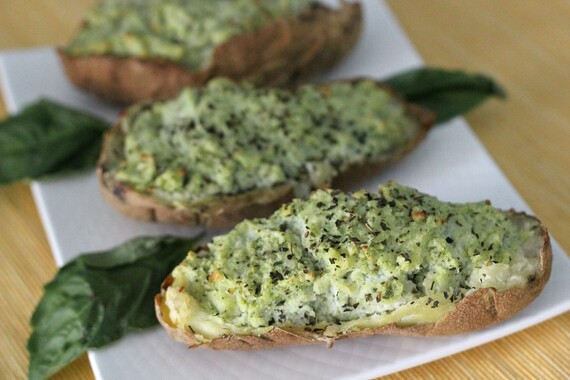 Pesto Double-Stuffed Potatoes