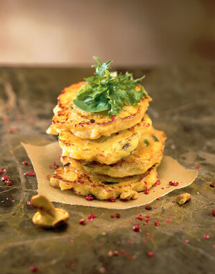 Idaho® Potato Pancakes with Chanterelles, Walnut and Basil Oil