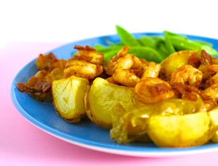 Idaho® Yukon Gold Potatoes with Bacon-Bourbon Shrimp