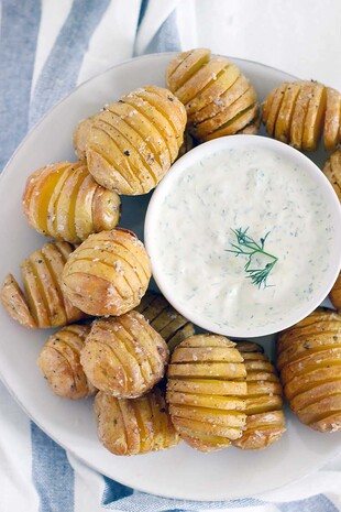 Mini Hasselback Idaho® Potatoes with Creamy Dill Dip