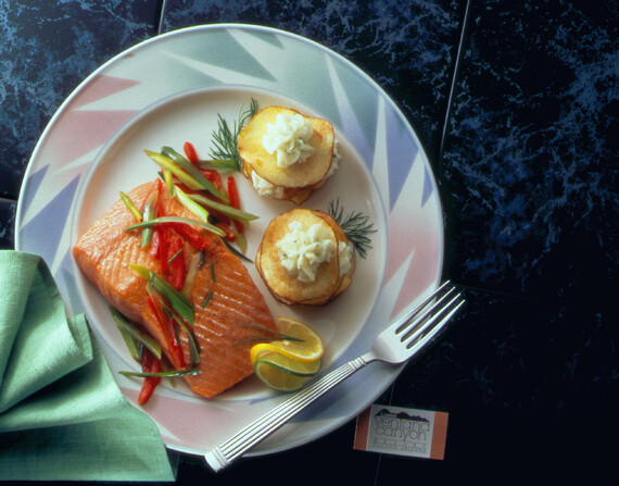 Skillet-Seared Fillet of British Columbia Farmed Salmon and Herbed Idaho® Potato Gaufrettes