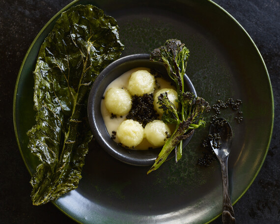 Potatoes with Osetra Caviar, Burned Brassicas