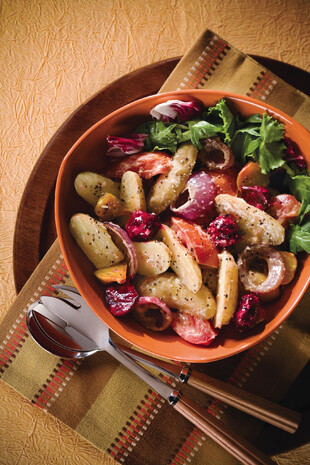 Warm Potato, Roasted Beet, and Roma Tomato Salad, with Herb Pesto