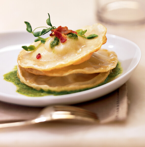 Idaho® Potato Ravioli with Minted Pea Sauce