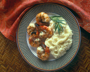 Garlic Mashed Potatoes and Grilled Garlic Shrimp