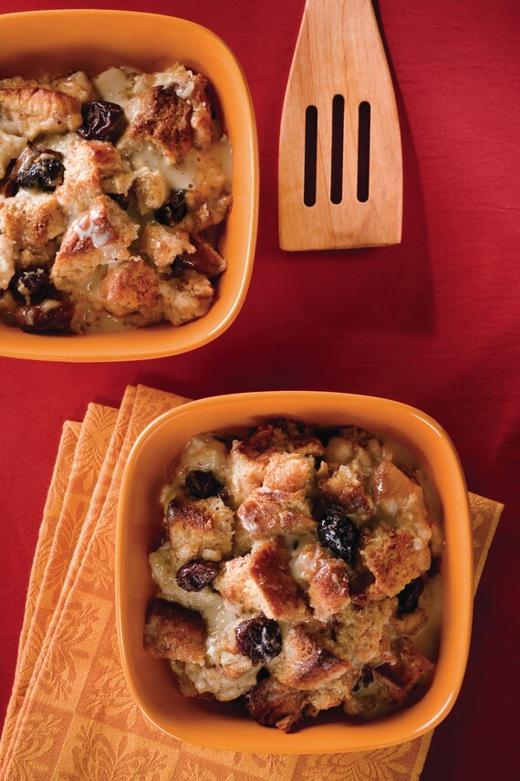 Idaho® Potato Bread Pudding With Marscapone, White Chocolate, Dried Cherries, and Praline Crème Anglaise