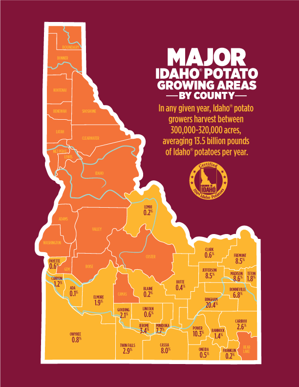 Major Idaho® Potato Growing Areas By County