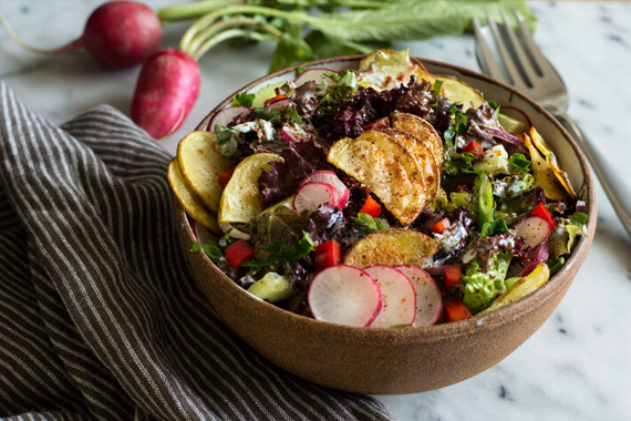 Fattoush Salad with Roasted Potatoes