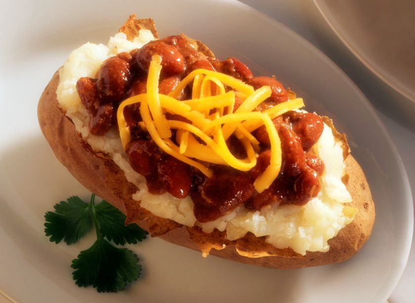 Chili-Topped Idaho® Baked Potatoes