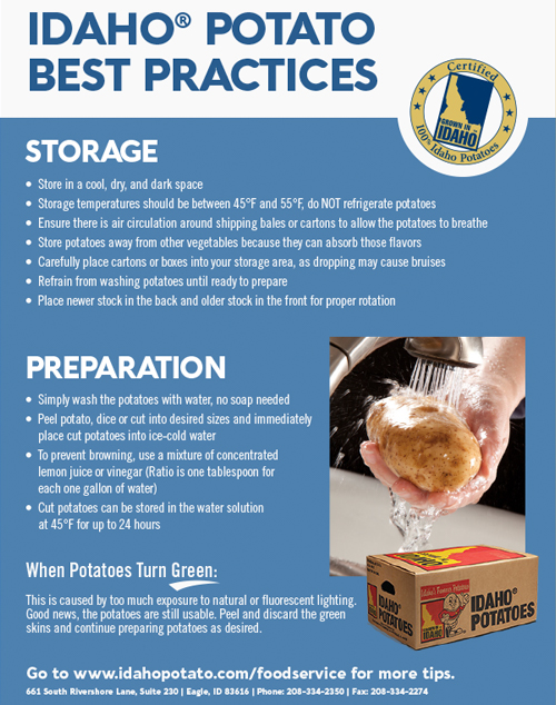 Idaho® Potato Best Practices – Storage & Preparation