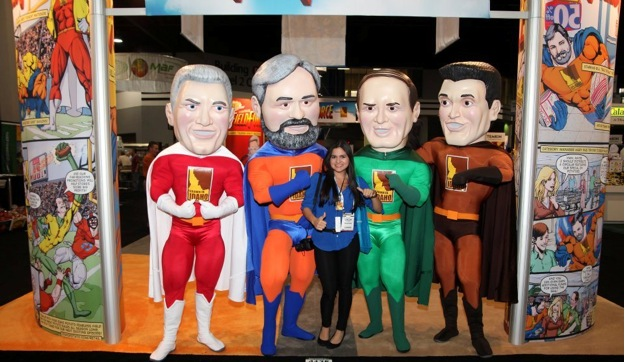 Retail customers stopped by the Idaho Potato Commission booth to pose with the larger-than-life superheroes.