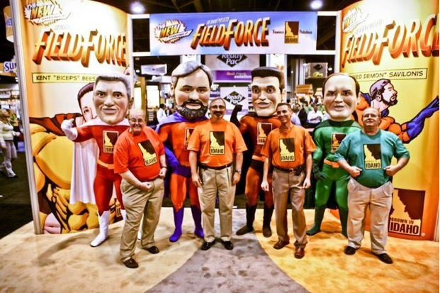 The Fearless Field Force pose with their superhero alter egos (from left to right: Larry Whiteside, Bill Savilonis, Kent Beesley, Ken Tubman).
