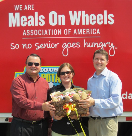 (From left) Clay Campbell of Idahoan Foods with Ginnie Plunkett of Fayette Senior Services and Jeffrey Smythe of Senior Citizen Services of Metropolitan Atlanta.