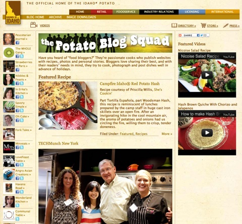 The Potato Blog Squad, a new section of the Idaho Potato Commission (IPC)'s website, features an assortment of creative Idaho® potato recipes and videos from popular food bloggers such as Average Betty and Nibbles & Feasts.