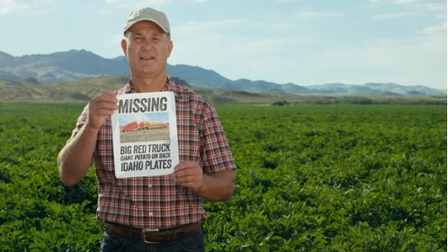 In the new commercial, Idaho® potato farmer Mark Coombs is searching for the Great Big Idaho® Potato Truck that hasn't been seen since it set off on its cross-country tour several months ago.