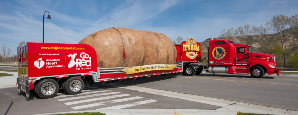 The Great Big Idaho® Potato Truck has a great big new look for the 2014 Tour. Updated branding features fresh Idaho® potatoes prepared in a variety of ways, and important nutrition information and the charity beneficiary, Go Red for Women, are prominently displayed on the back and side panels.